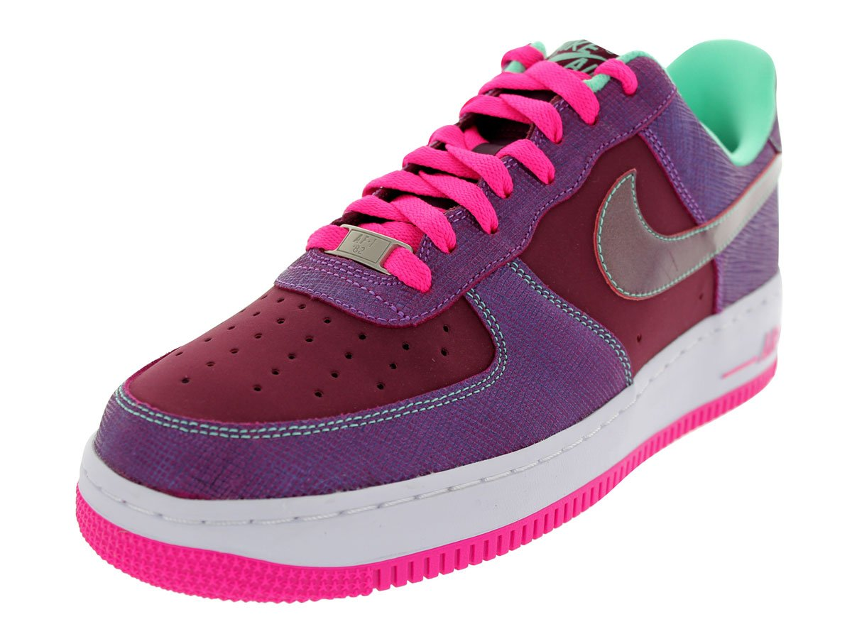 Nike Men's Air Force 1 Basketball Shoe Color: Cherrywood Red/Pnk Fl/Frn Glw