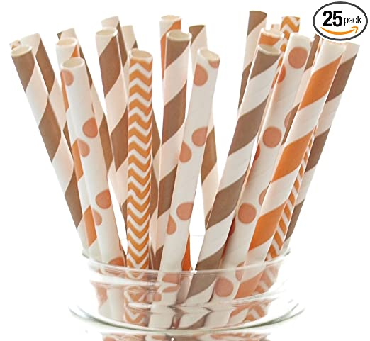 Thanksgiving Dinner Straws (25 Pack) - Fall Leaf Autumn Straws, Orange & Brown Assorted Paper Straws for Thanksgiving Table Decor