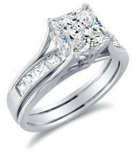 Solid 14k White Gold Bridal Set Princess Cut Solitaire ...