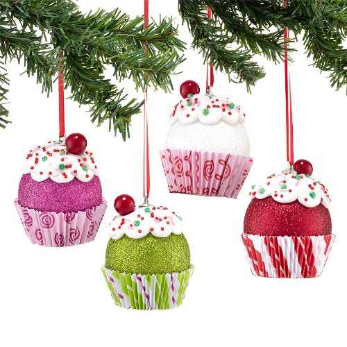 Dept 56 Cupcake Ornament pack of 4 - Colors may vary