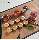 Chinese Zisha Tea Pot /Gaiwan Gongfu Tea Set (Set of 13) (red/white)