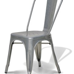 Steel Chair Amazon Posture For Gaming Stella Metal Cafe Side In Brushed Galvanized Finish
