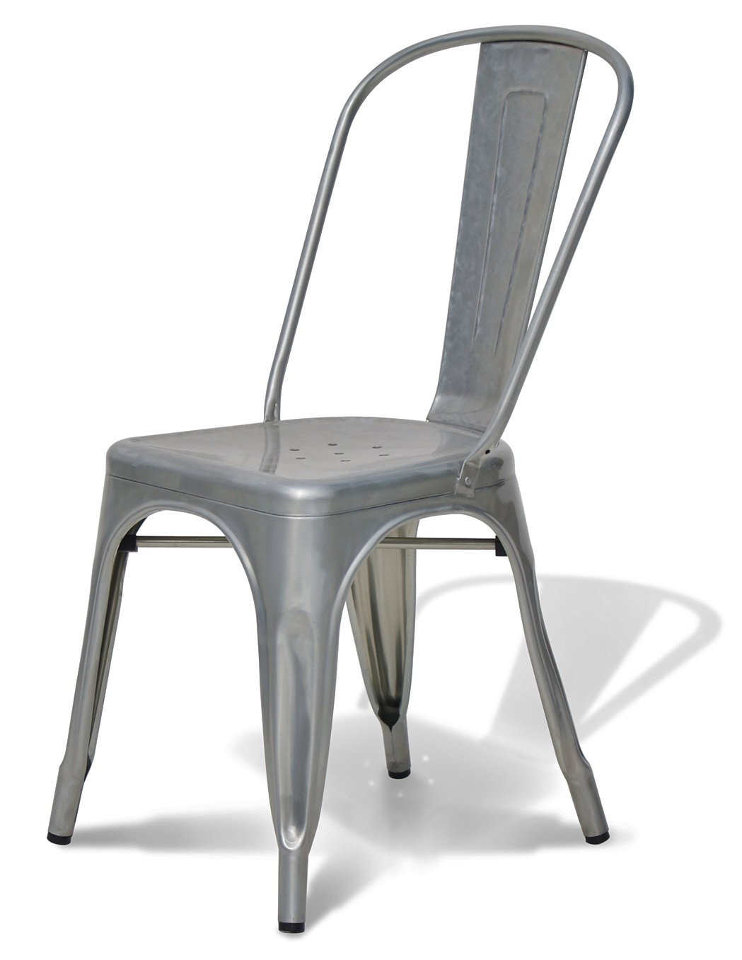 Galvanized Steel Chairs Stella Metal Cafe Side Chair In Brushed Galvanized Finish