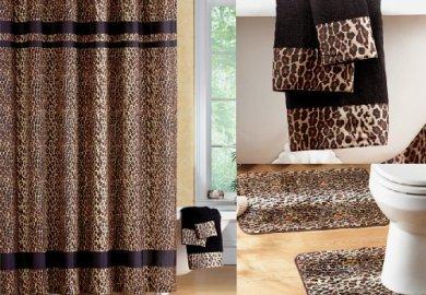 Leopard Print Shower Curtain Set