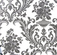 Wallpaper Victorian Black and White Classic Traditional Damask
