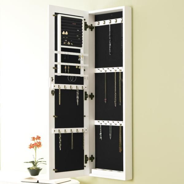 Wall Mount Jewelry Armoire White