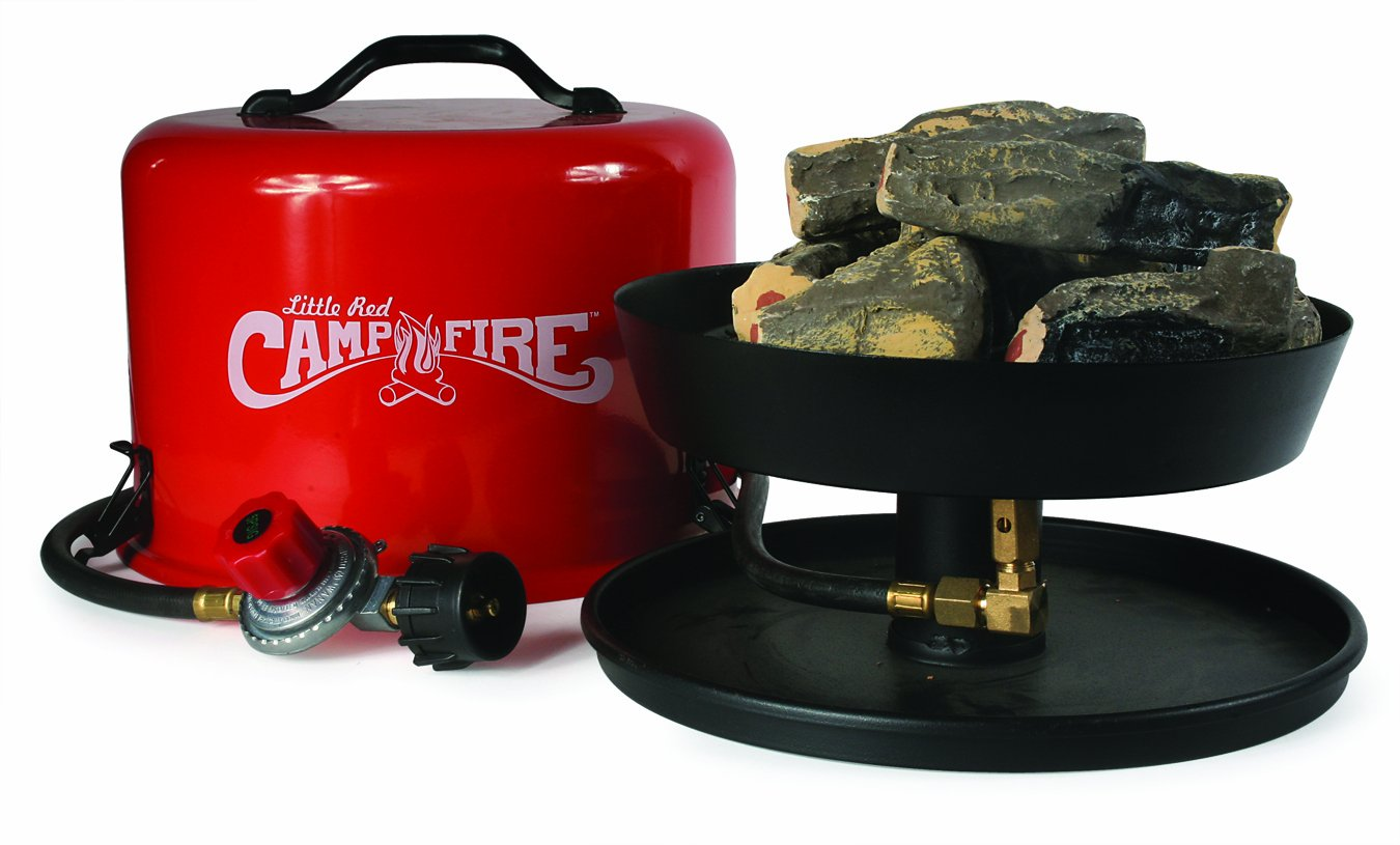 "Amazon.com: ""Little Red Campfire"" Portable Propane Camp Fire So many places ban open fires.. and even so, fires can be a pain to tend to. This little propane 'fake' campfire creates the ambience & heat without the fuss."