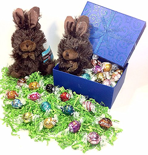 Lindt Blue Easter Basket Gift Box - Lindor Truffles Chocolate Candy & Stuffed Animal