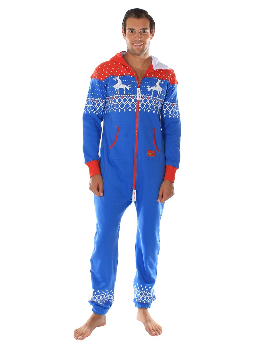 Ugly Christmas Sweater Party - Reindeer First Date Blue & Red Adult Jumpsuit