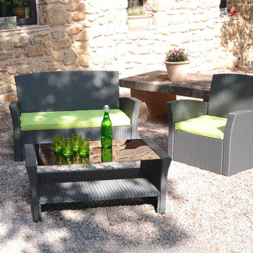 Set di 3 cuscini per salotto da giardino Ibiza Verde