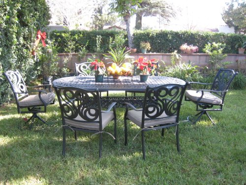 Buy Cheap CBM Outdoor Patio Furniture 7 Pcs Aluminum Dining Set with 2 Swivel