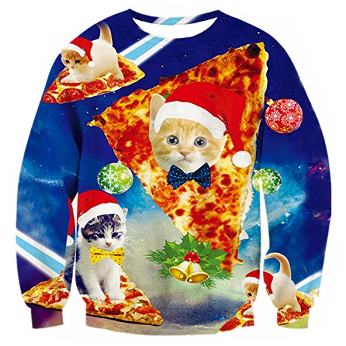 Uideazone Print Pizza Cat Shirt Collage Ugly Christmas Sweater Pullover Sweatshirts Blue