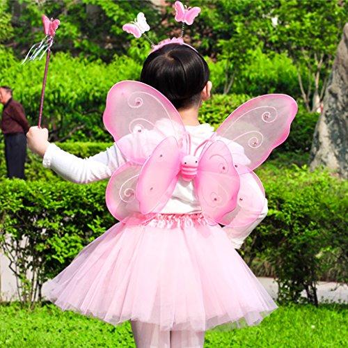 【ノーブランド品】子供 女の子 発表会 コスプレ 妖精 王女 天使 衣装 セット 蝶 羽 ヘッドバンド 杖 翼 全5色 - ピンク