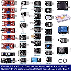 Kumán Completo 37 en 1 Módulo Sensor Proyectos para Starter Kit para Arduino Uno Raspberry Pi Mega 2560 K5