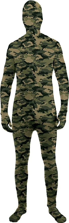 Forum Novelties Women's Disappearing Man Patterned Stretch Body Suit Costume, Camo, Medium/Large