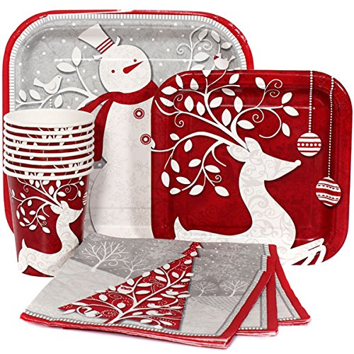 121 Piece Frosted Holiday Christmas/New Year Paper Plates