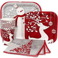121 Piece Frosted Holiday Christmas/New Year Paper Plates ...