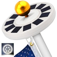 GRDE Solar Flag Pole light 30 LED Flagpole Downlight ...