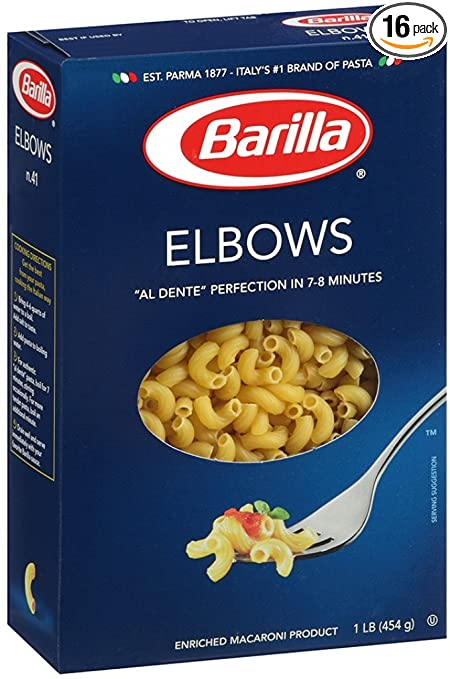 Barilla Elbow Pasta, 16 Ounce Boxes (Pack of 16)