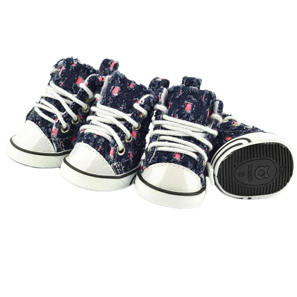 Mosunx(TM)Hot! Pet Dog Puppy Broken Hole Denim Sport Shoes Boots Sneakers