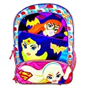 DC Comics Super Hero Girls Batgirl, Wonder Women and Supergirl Backpack with Two Side Mesh Pockets