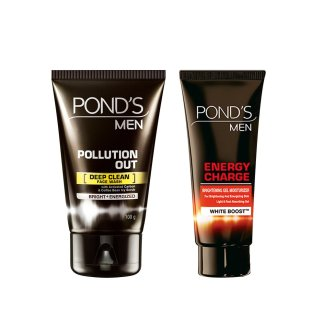 Buy Pond's Men Pollution Out Face Wash, 100g with Energy Charge Gel Moisturizer, 20g At Rs 208 Only @ Amazon