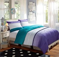 5 Pc Modern, Girls, Turquoise and Purple, Bed in a Bag