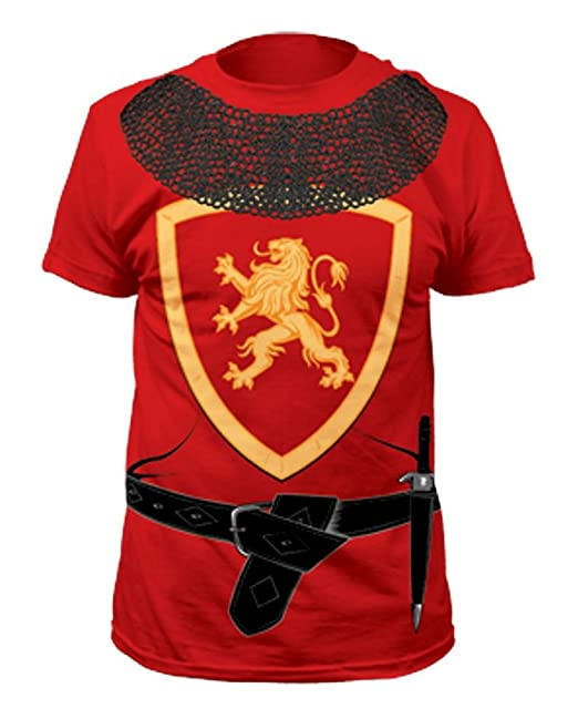 Knight Crest Belt and Knife Costume T-Shirt Red Large