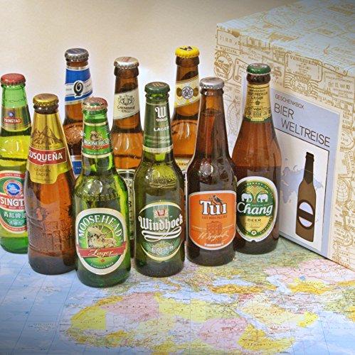 Geschenkbox-Bier-Weltreise-Geschenk-Bier-Welt-Braukunst-Kontinente-Flaschen-Quilmes-Windhoek-Tui-Tsingtao-Moosehead-Cusquea-Moritz-Menabrea-Chang-Argentinien-Namibia-Neuseeland-China-Kanada-Peru-Itali