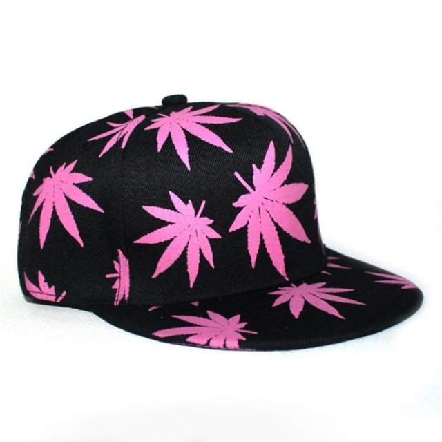 Unisex Hip Hop Marijuana Weed Leaf Snapback Hat, Adjustable Baseball Cap