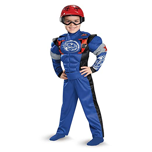 Disguise 84008L Race Car Driver Toddler Muscle Costume, Large (4-6)