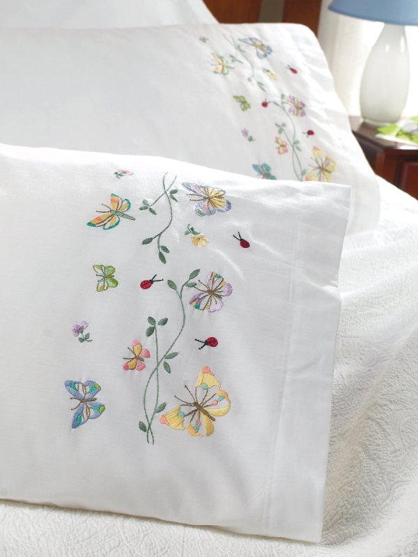"""Bucilla Stamped Embroidery Pillowcase Pair 20""""x30"""