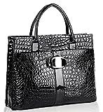 Chic Black MAXX Crocodile Print PU Patent Leather Office Tote Top Handle Satchel Handbag Briefcase Purse