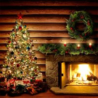 Photography Backdrop  Holiday Hearth Log Cabin with ...