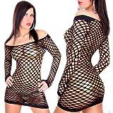 Kleid Minikleid Netzkleid Netz Schwarz Größe S-M