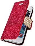 myLife Bright Red {Glitter Passion and Buckle Design} Faux Leather (Card, Cash and ID Holder + Magnetic Closing) Slim Wallet for the iPhone 5C Smartphone by Apple (External Textured Synthetic Leather with Magnetic Clip + Internal Secure Snap In Hard Rubberized Bumper Holder)