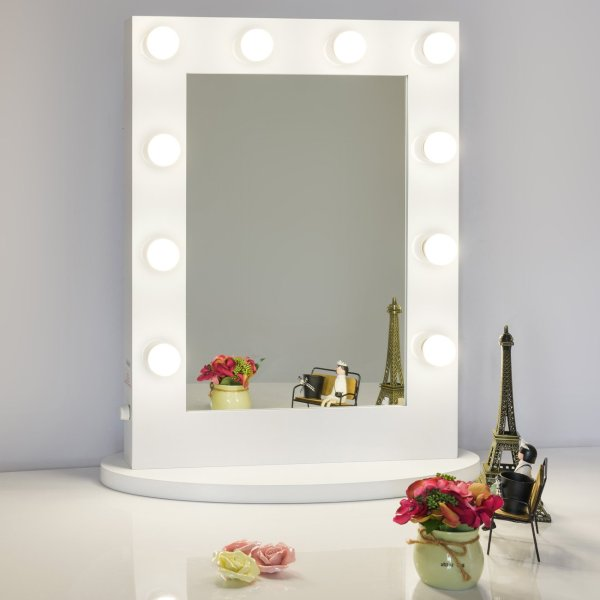 Chende White Hollywood Tabletops Lighted Makeup Mirror