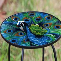 Peacock Glass Round Side Table New | eBay