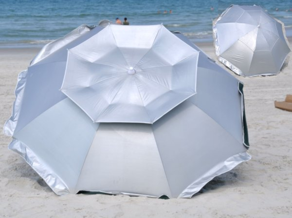 1163bdc34fe9 Selection - Heavy Duty Beach Umbrella · Solar Guard 8 Ft Deluxe Dual Canopy  Beach Umbrella Upf 150