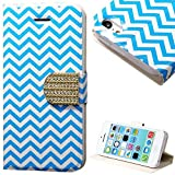myLife Sky Blue and White {Chevron and Buckle Design} Faux Leather (Card, Cash and ID Holder + Magnetic Closing) Slim Wallet for the iPhone 5C Smartphone by Apple (External Textured Synthetic Leather with Magnetic Clip + Internal Secure Snap In Hard Rubberized Bumper Holder)
