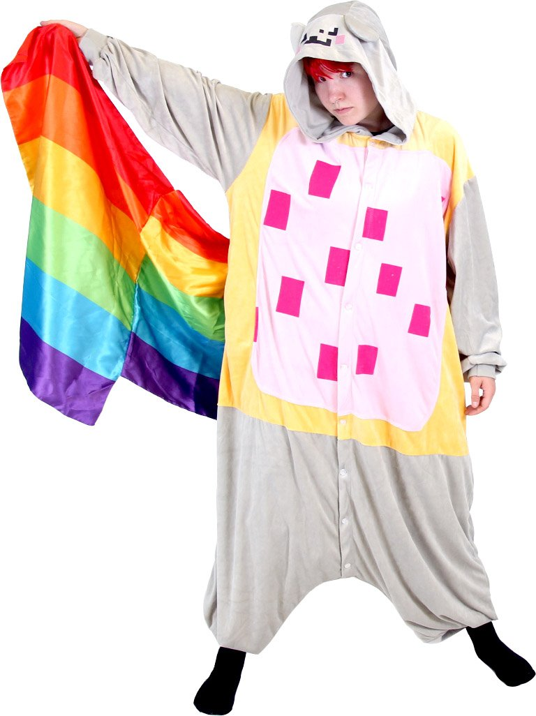 Meme Space Nyan Cat Rainbow Tail Costume Hooded Kigurumi One Piece Pajama