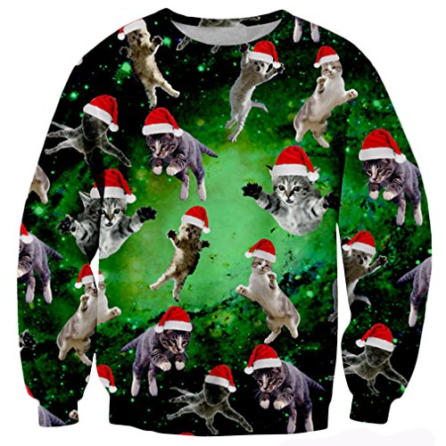 RAISEVERN Galaxy Nebula Ugly Christmas Cat Meow Santa Print Pullover Sweater Jumper for Teen Girls,Space Cats,X-Large