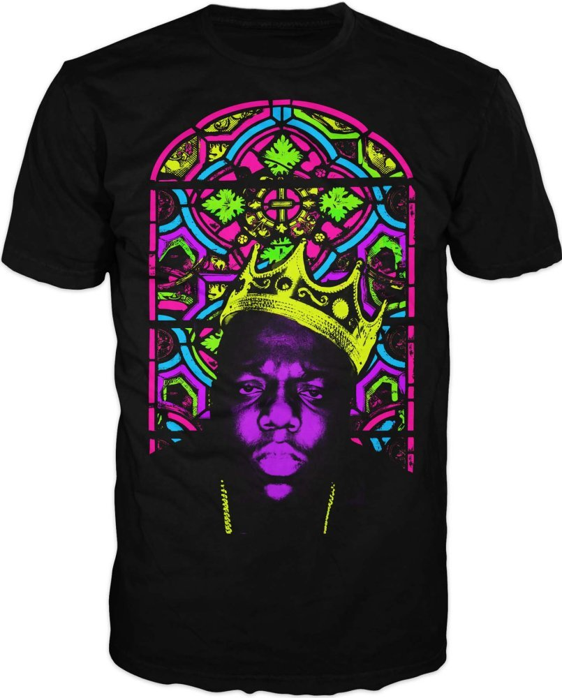 Notorious BIG Biggie Crown Stained Glass Mens Black Tee