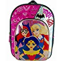 DC Comics Super Hero Girls Batgirl, Wonder Women and Supergirl Half Moon Backpack with Two Side Mesh Pockets