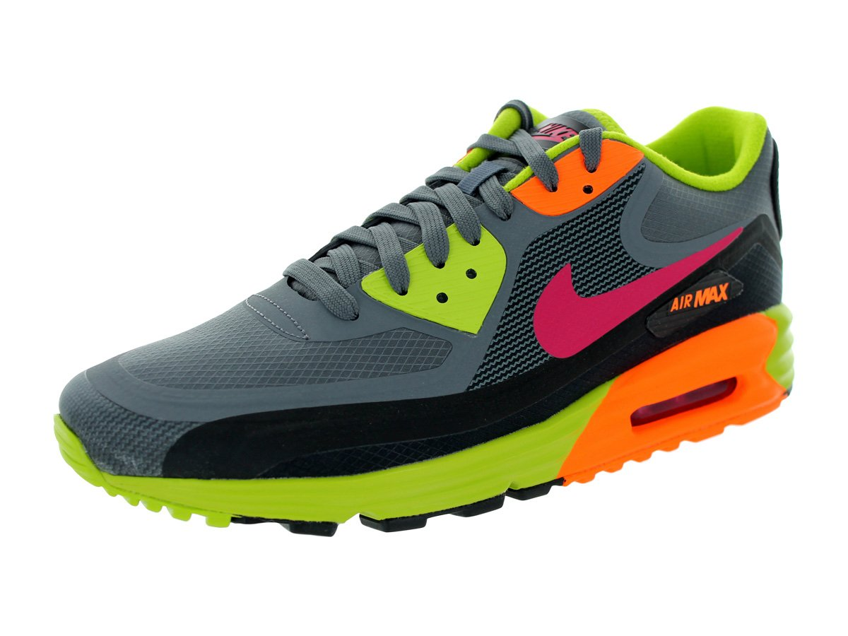 Nike Air Max Lunar90 WR Mens Running Shoes Color: Dark Grey/Fchs Frc/Blk/Frc Grn