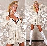 Sexy Damen Strick-Jacke in Mantel Länge mit Gürtel und Kapuze in Gr. 34 - 38
