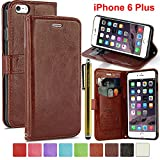 LK iPhone 6 Plus Case - iPhone 6 Plus 5.5inch Wallet PU Leather Case Flip Cover Built-in Card Slots & Stand + Free Screen Protector & Stylus Pen (Brown)