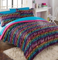 Teen Girl Comforter Sets Rainbow Zebra Bedding with Shams ...