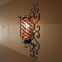 Black Metal and Mosaic Glass Wall Sconce Candle Holder ...