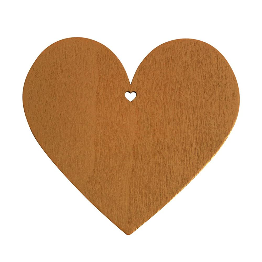 50 Coffee Brown Wooden Heart Shape Craft Tags Plaques Decorative 100mm by Kurtzy TM
